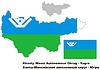 Übersichtskarte von Khanty-Mansi Autonomen Kreises mit