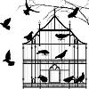 Vögel und Vogelkäfig Grafik
