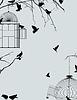 Vögel und Vogelkäfige Postkarte