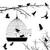 Vögel Silhouetten und Vogelkäfig