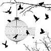 Käfig und Vögel Silhouetten
