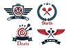 Векторный клипарт: Дартс эмблемы набор
