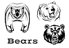 Векторный клипарт: Злой медведи гризли символов