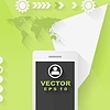 Векторный клипарт: Абстрактный дизайн концепция плоским тек с мобильным телефоном