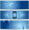 Векторный клипарт: Синие абстрактные технологий баннеры для веб-дизайна