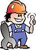 Handgezeichnete Ein frohes Mechaniker oder Handwerker