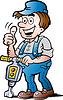 Handgezeichnete Ein frohes Bauarbeiter
