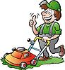 Hand-, die eine glückliche Gärtner mit seinem Rasenmäher