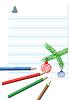 Векторный клипарт: Тетрадный лист с цветными карандашами
