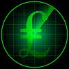 Векторный клипарт: Радар экран с символом фунта стерлингов