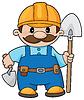 Векторный клипарт: строитель с лопатой