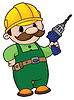 Векторный клипарт: строитель с дрелью