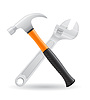 Werkzeuge Hammer und Schraubenschlüssel-Icons