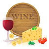 Stillleben mit Käse und Wein
