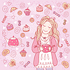 Mädchen mit Tasse Tee