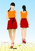 Zwei Mädchen zu Fuß entlang Straße. Farbige