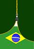 Zipper offene brasilianische Flagge mit Platz für Text.