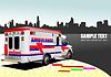 Moderne Rettungswagen auf Stadt Hintergrund. Farbige