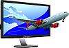 Flat-Computerbildschirm mit passanger ebenes Bild.