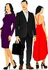 Junger stattlicher Mann und zwei junge Frauen. Geschäftsmann