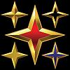 Satz von golden glänzenden Vier-Punkte-Sterne | Stock Vektrografik
