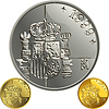 Spanish money gold and silver coin one peseta