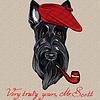 lustigen Comic-Hipster Hund Scottish Terrier
