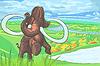 Mammut in der Landschaft mit Fluss