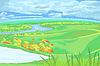 Europäischen Flachlandschaft mit Fluss