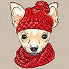 Cartoon hipster Hund Rasse Chihuahua lächelnd