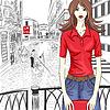 schöne Mode Mädchen auf Venice Hintergrund