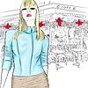 schöne Mode Mädchen auf Hintergrund von Paris