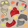 Set hipster autumn accessories | Stock Vector Graphics