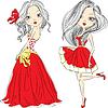 eingestellt schöne Mode Mädchen in roten Kleidern