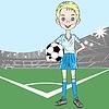 junge Fußballspieler auf Fußballplatz