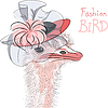 Funny fashion Ostrich Bird in beautiful hat | Stock Vector Graphics