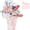 Смешно моды Страус Птица в красивом шляпе | Векторный клипарт