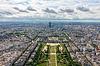 Ansicht von Paris, Champ de Mars auf den Eiffelturm | Stock Foto