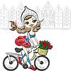 nettes Mädchen auf dem Fahrrad in Amsterdam