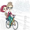 nette Mädchen auf dem Fahrrad in Amsterdam
