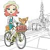 Векторный клипарт: милая девушка с собакой на велосипеде в Амстердаме
