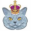 Векторный клипарт: Британский кот в золотой короной