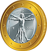 Italian money gold coin one euro (Vitruvian Man)
