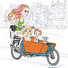 Векторный клипарт: красивая девушка несет ребенка на велосипеде в Амстердаме