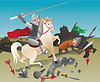 Vector clipart: Knight with lance on horseback