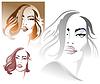 Drei Porträts der jungen Frau, sexy | Stock Vektrografik