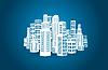 Stadt mit Gebäuden und Wolkenkratzern