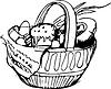 Vorschau Easter Korb und Eier und Kuchen