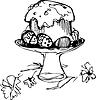 Osterkuchen mit Eiern und Blumen in der Vase