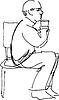 Großvater Trinken von Glas auf Stuhl sitzen